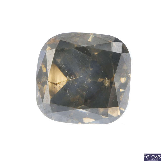 A cushion-shape 'yellow-brown' diamond, weighing 4.02cts.