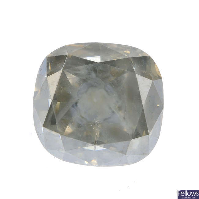 A cushion-cut 'yellow' diamond, weighing 4.29cts.