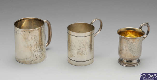 Two Victorian silver christening mugs & a later example.