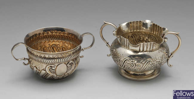 Two late Victorian silver twin-handled sugar bowls.