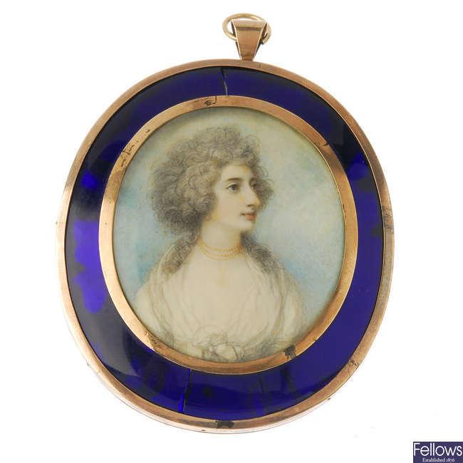 A Georgian miniature portrait pendant, circa 1780.