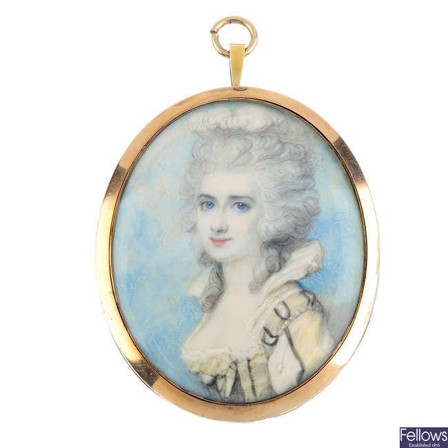 A Regency miniature portrait pendant, circa 1780.