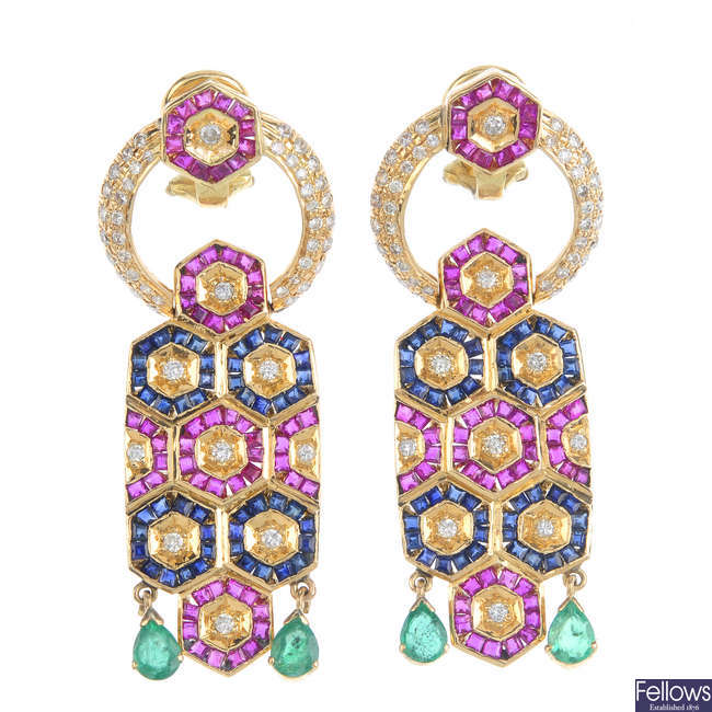 A pair of diamond, emerald, ruby and sapphire earrings.