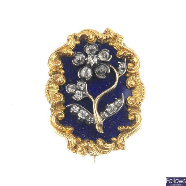 A mid Victorian gold, diamond and enamel brooch, circa 1880.