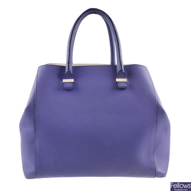 VICTORIA BECKHAM - a purple Quincy tote bag.
