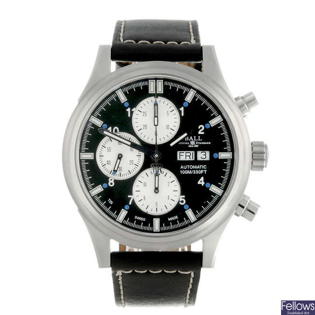 BALL - a gentleman's stainless steel Ionosphere chronograph wrist watch.