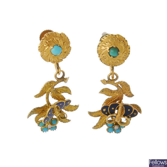 A pair of early 20th century ear pendants.