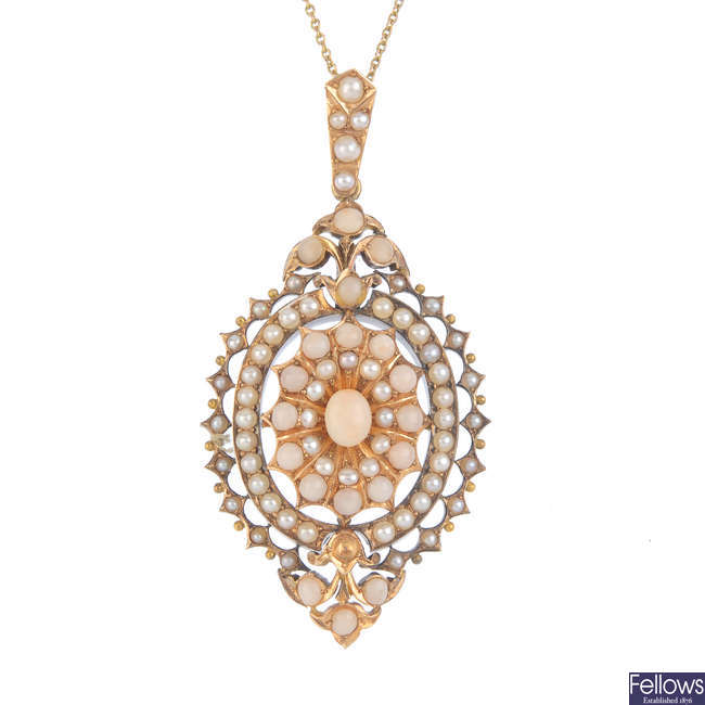 A mid Victorian gold coral and split pearl pendant, circa 1870.