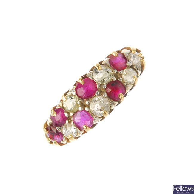 A mid 20th century 18ct gold ruby and diamond dress ring.