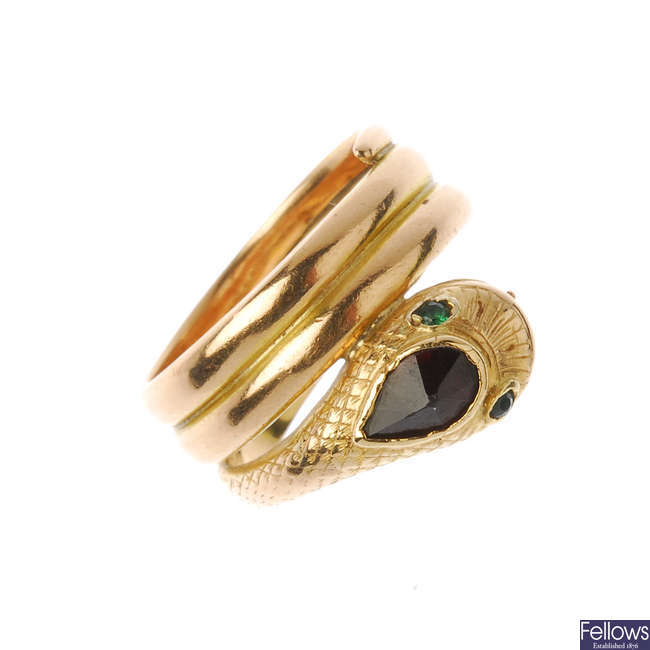 A late 19th century gold snake ring.