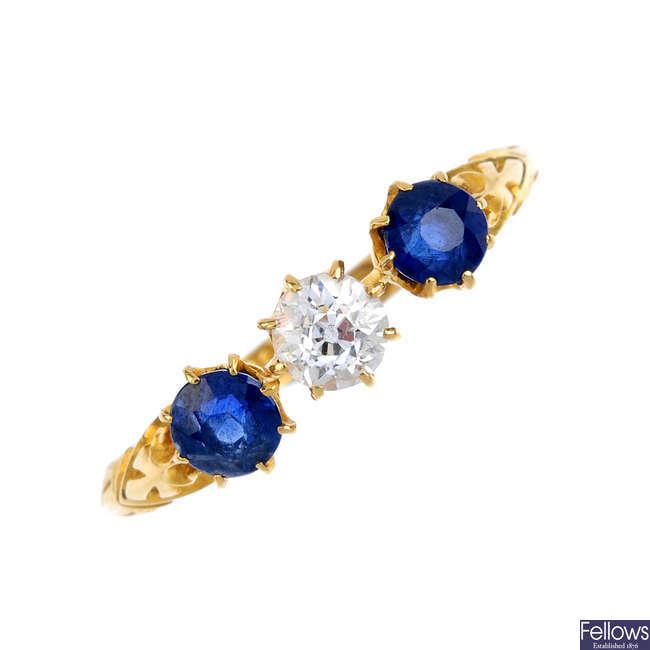 An Edwardian 18ct gold diamond and sapphire three-stone ring.