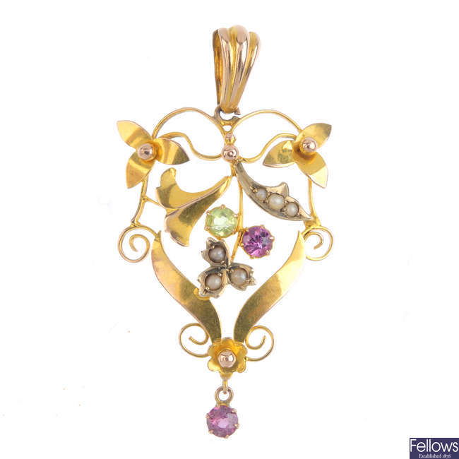 A selection of late Victorian and Edwardian gold gem-set jewellery.