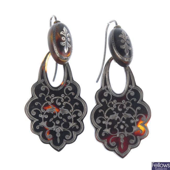 A pair of late Victorian tortoiseshell pique earrings.
