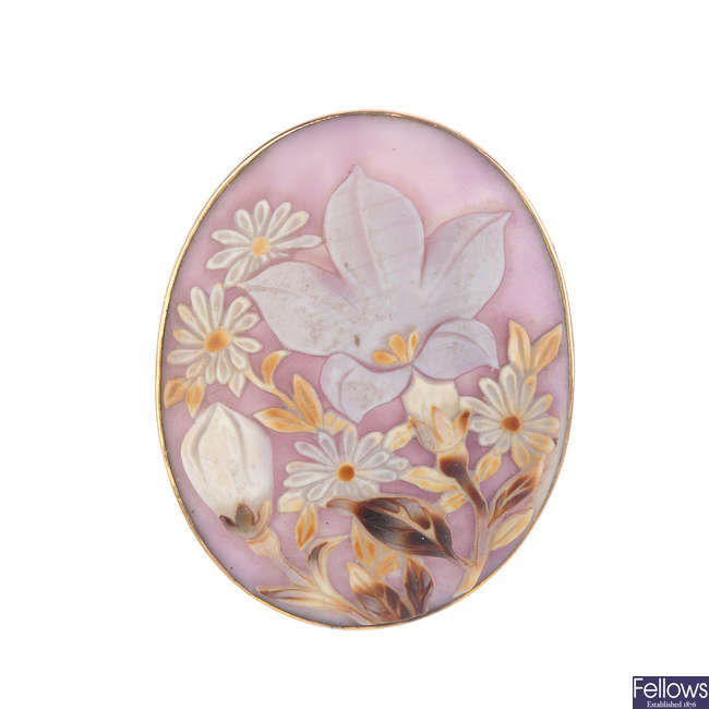 Two carved cameo brooches.