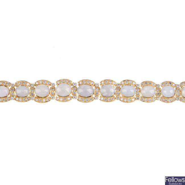 A star sapphire and diamond bracelet.