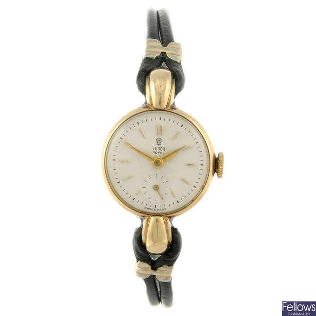 TUDOR - a lady's 9ct yellow gold Royal wrist watch.