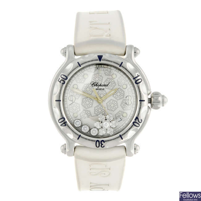 CHOPARD - a lady's stainless steel Happy Sport Snowflake wrist watch.