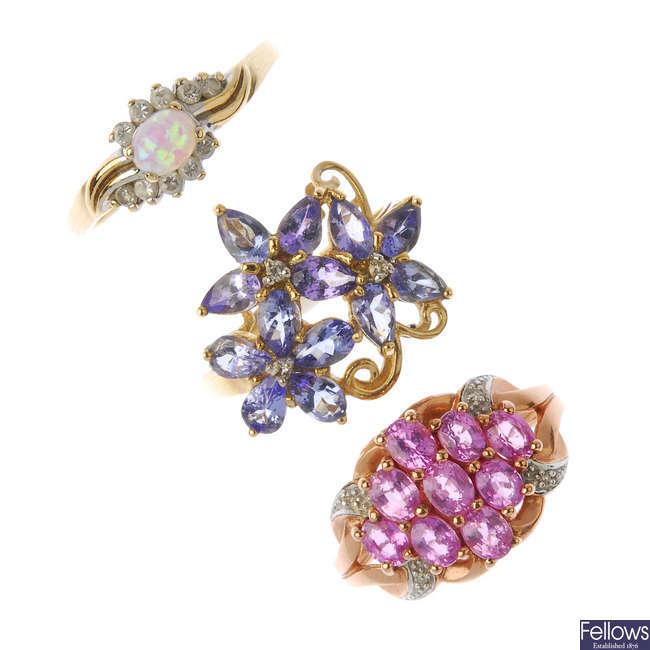 Three 9ct gold gem-set and diamond rings.
