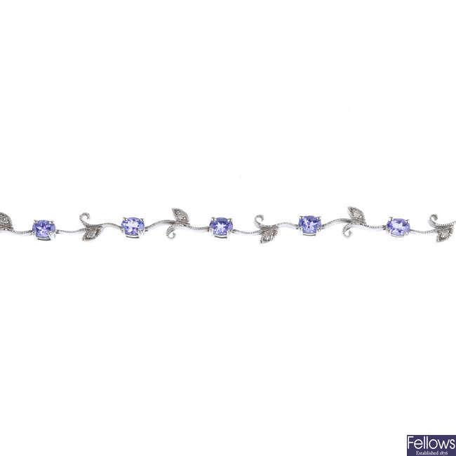 A tanzanite and diamond foliate bracelet.