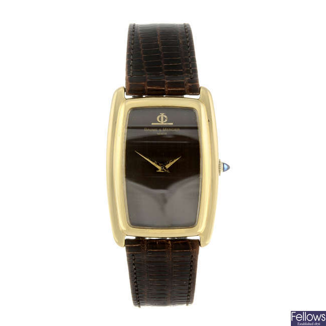 BAUME & MERCIER - a gentleman's 18ct yellow gold wrist watch.