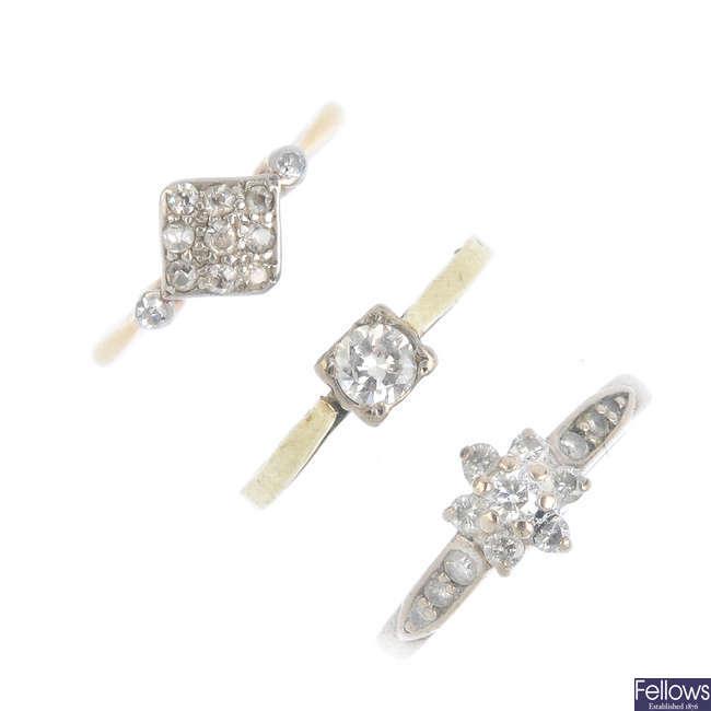 Three gold diamond rings.