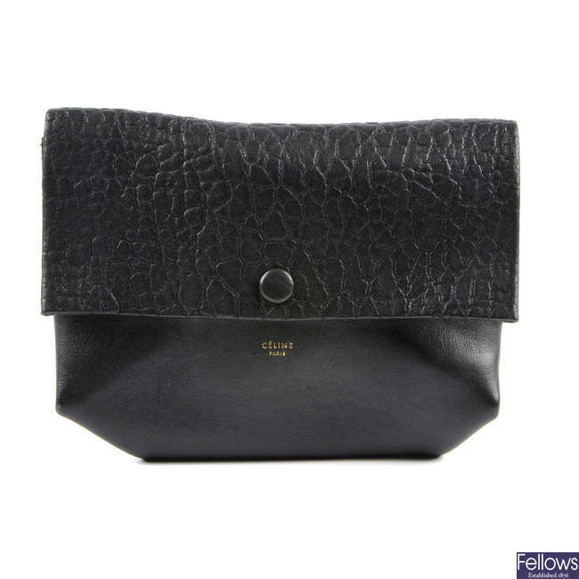 CELINE - a black All Soft leather clutch.