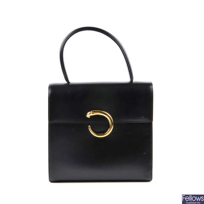 CARTIER - a black leather Panthere box bag.