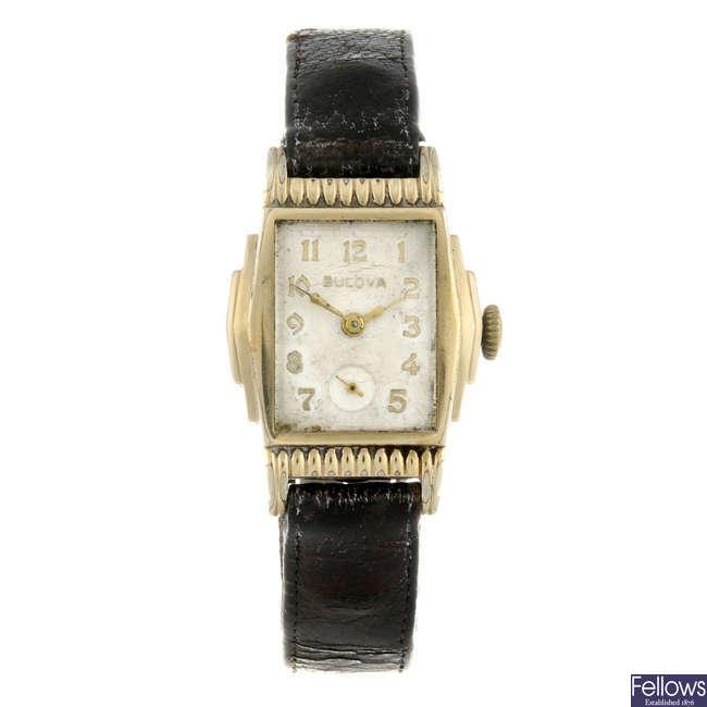 BULOVA - a rolled gold wrist watch.