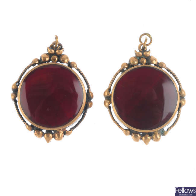 A pair of late Victorian agate pendants.