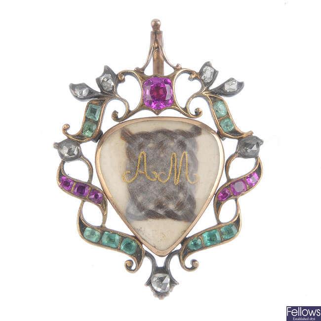 A George III ruby, emerald and diamond memorial pendant.