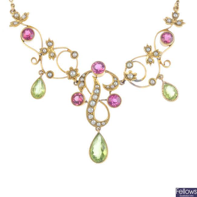 An Edwardian 9ct gold split-pearl and gem-set necklace.