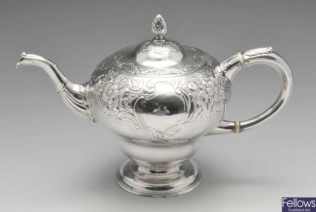 A George II Scottish silver teapot.