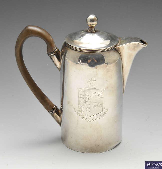 A George III silver coffee pot.