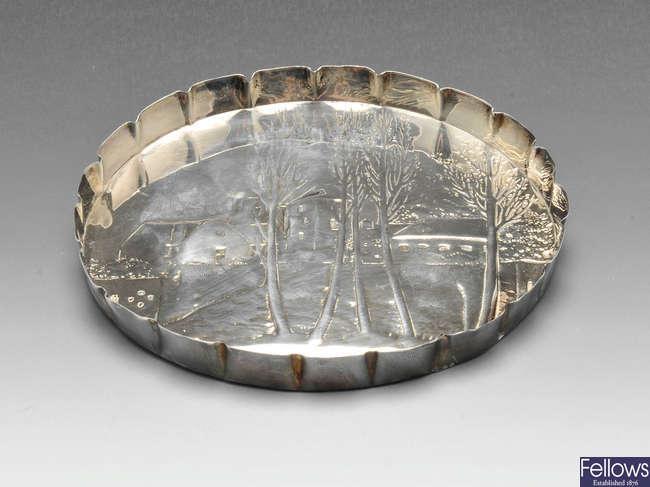 A mid-Victorian silver dish.