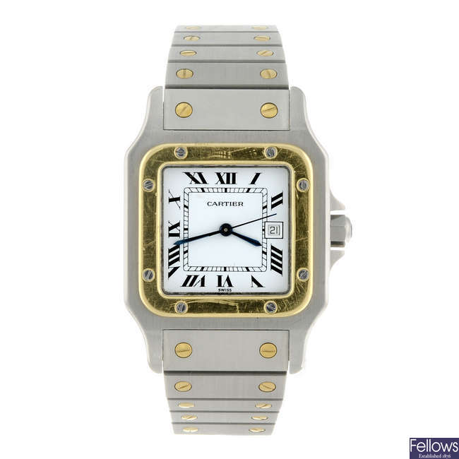CARTIER - a bi-metal Santos bracelet watch.