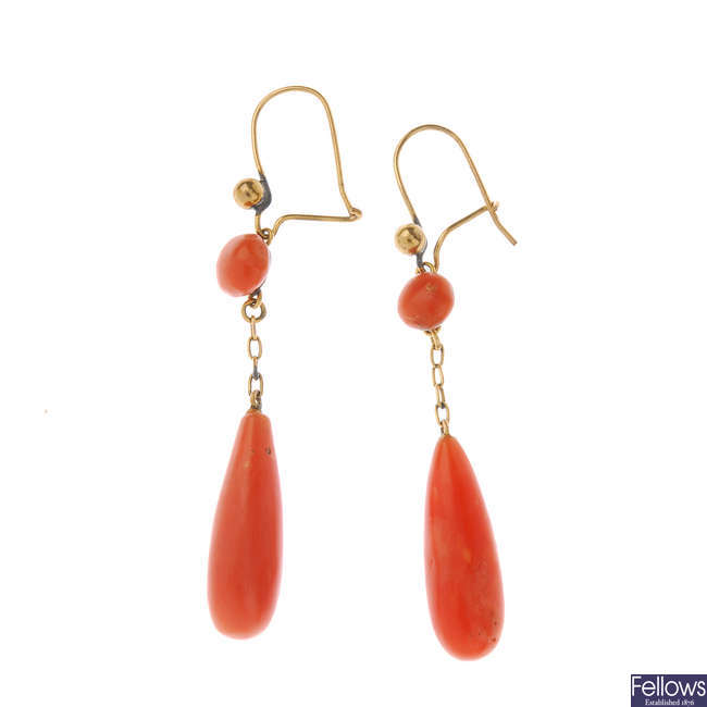 A pair of late Victorian gold coral earrings.