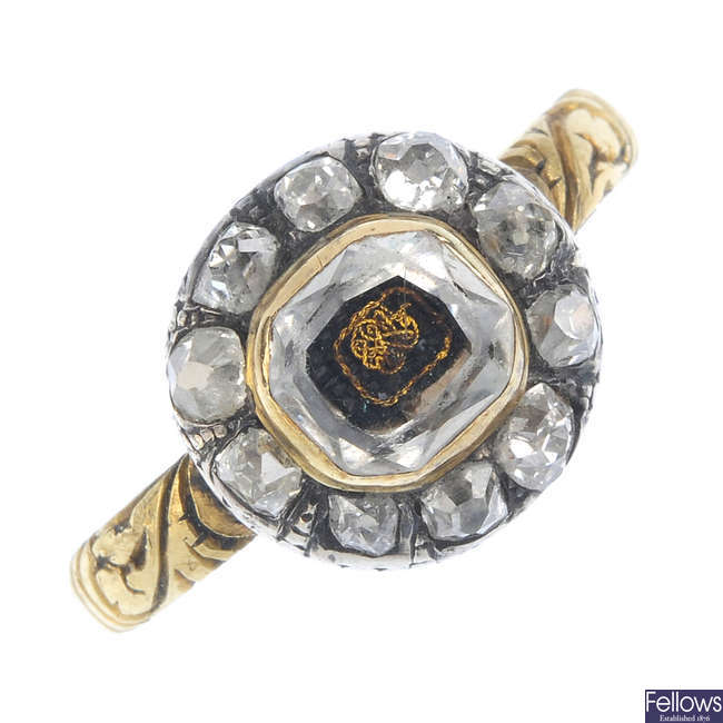 A late 17th century rock crystal and diamond cluster ring, circa 1680.