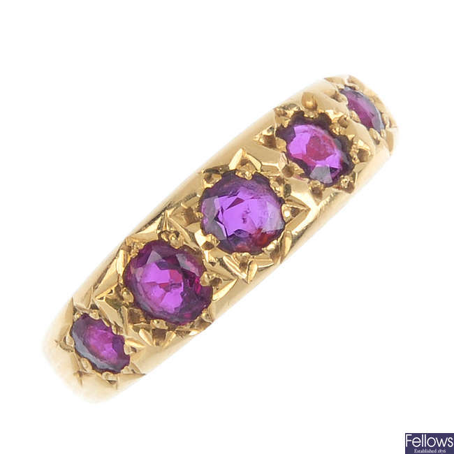 A late Victorian 22ct gold ruby ring.