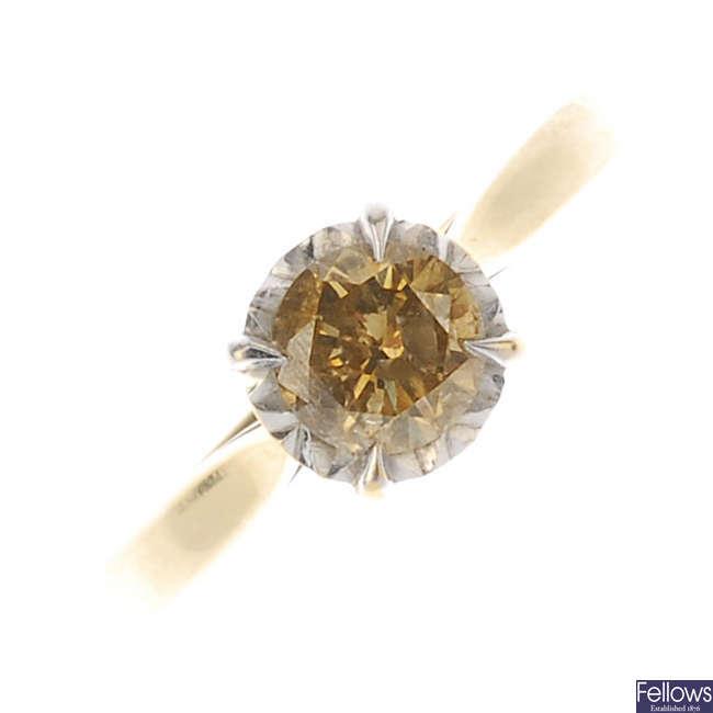 A 'brown' diamond single-stone ring.