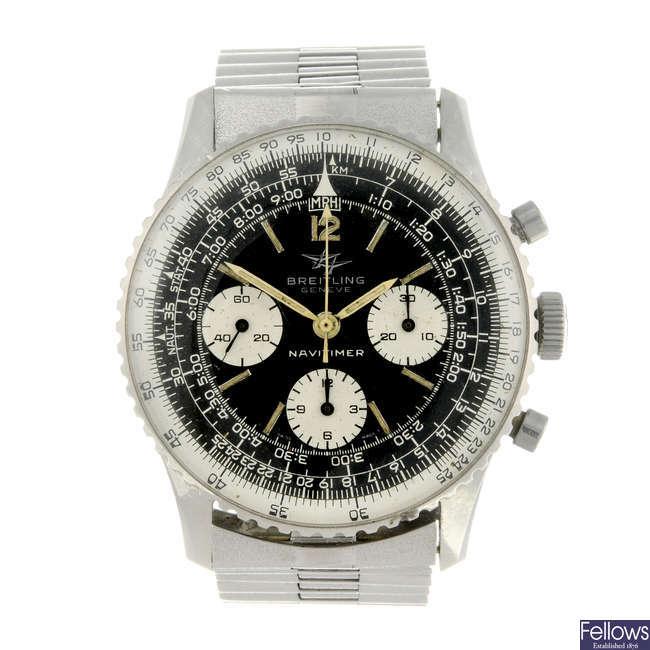 BREITLING - a gentleman's stainless steel Navitimer chronograph bracelet watch.