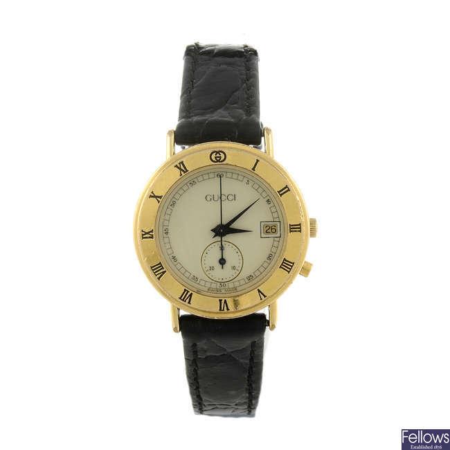 GUCCI - a lady's gold plated 3800L wrist watch.