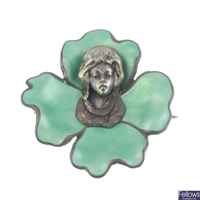 MEYLE & MAYER - an early 20th century silver and enamel brooch.