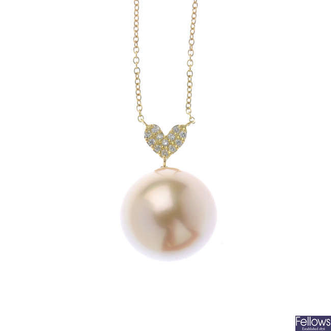 A cultured pearl and diamond pendant, on chain.