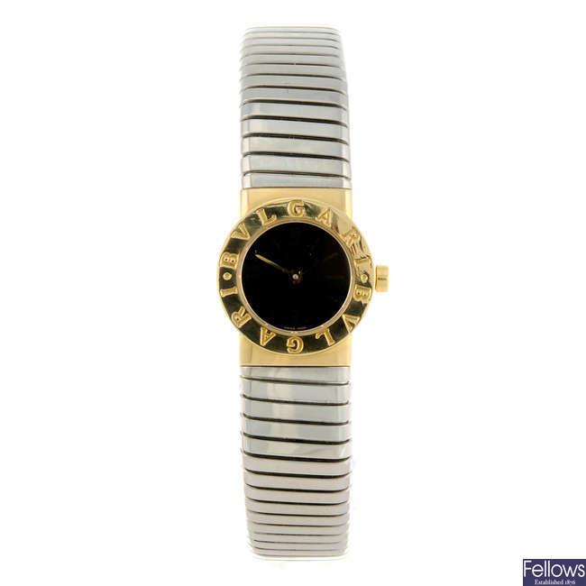 BULGARI - a lady's bi-metal Tubogas bracelet watch.