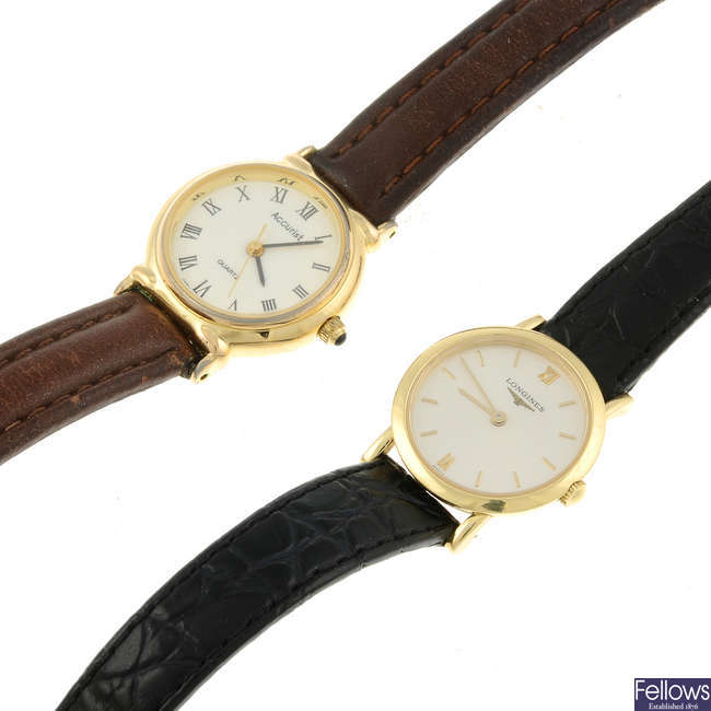 LONGINES - a lady's 18ct yellow gold wrist watch with two Accurist watches and a pocket watch.
