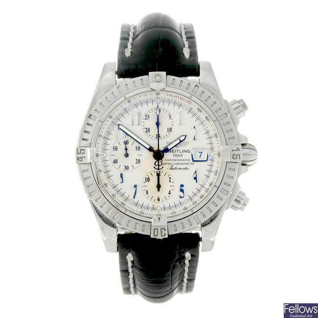 BREITLING - a gentleman's stainless steel Windrider Chronomat Evolution chronograph wrist watch.