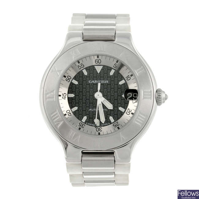 CARTIER - a stainless steel Must De Cartier 21 Autoscaph wrist watch.