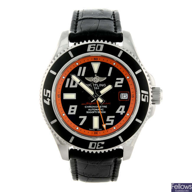 BREITLING - a limited edition gentleman's stainless steel Superocean 42 Orange wrist watch.