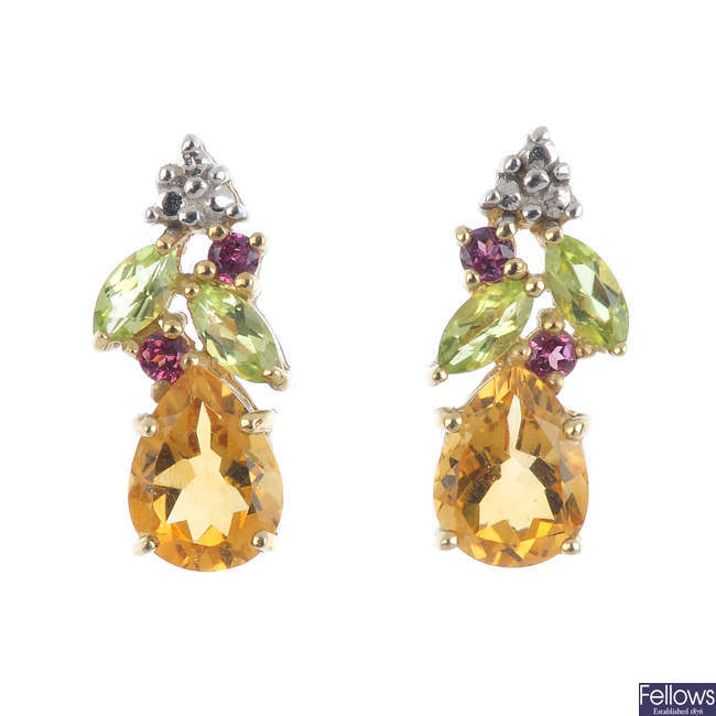 A pair of 9ct gold citrine, peridot and garnet earrings.