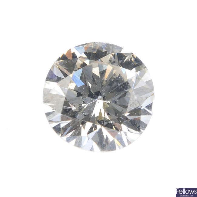 A brilliant-cut diamond, weighing 0.80ct.